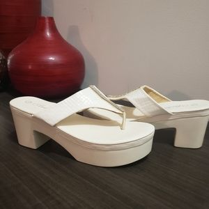 White high square heel, rhinstones size 38